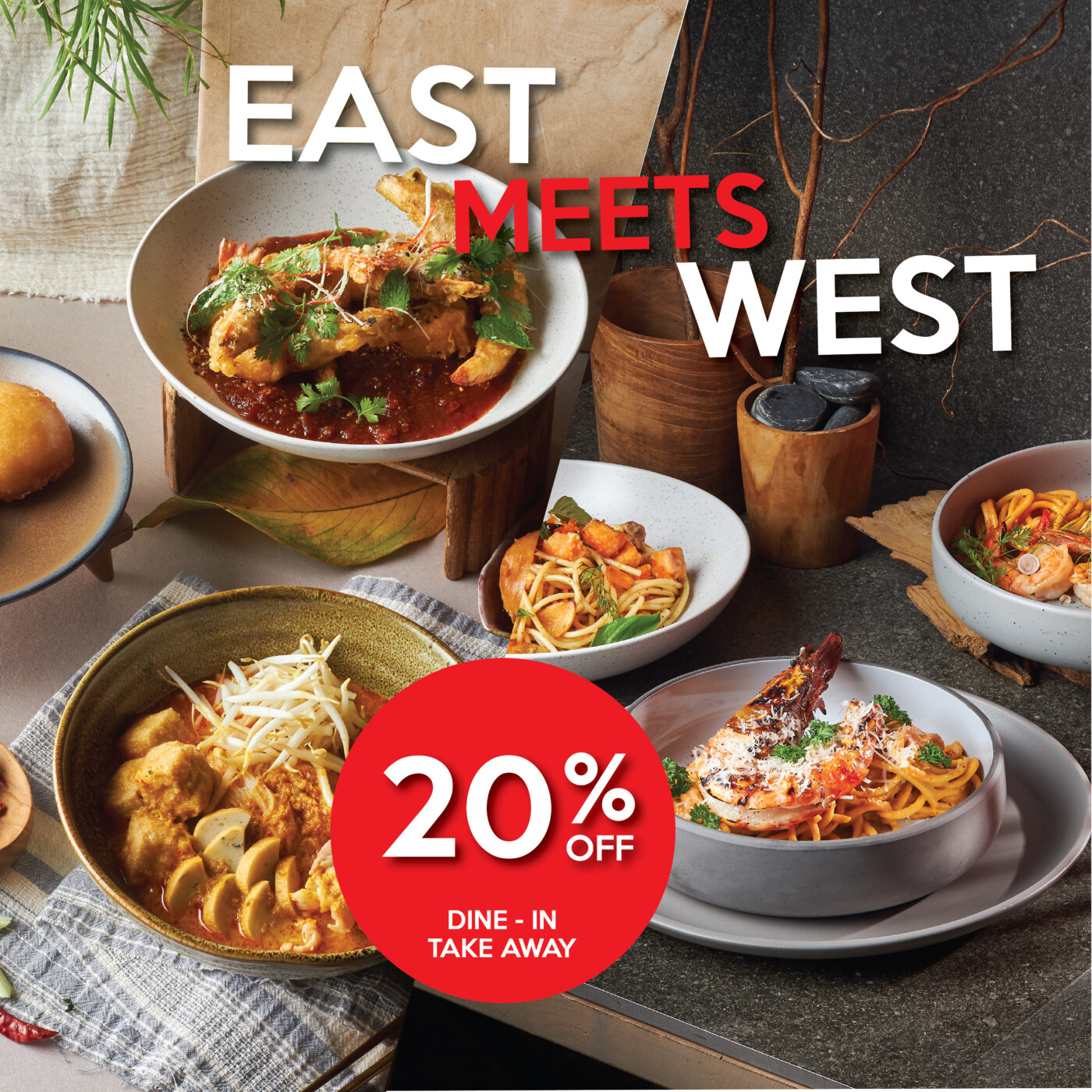Enjoy discount 20 % when you dine in or take away